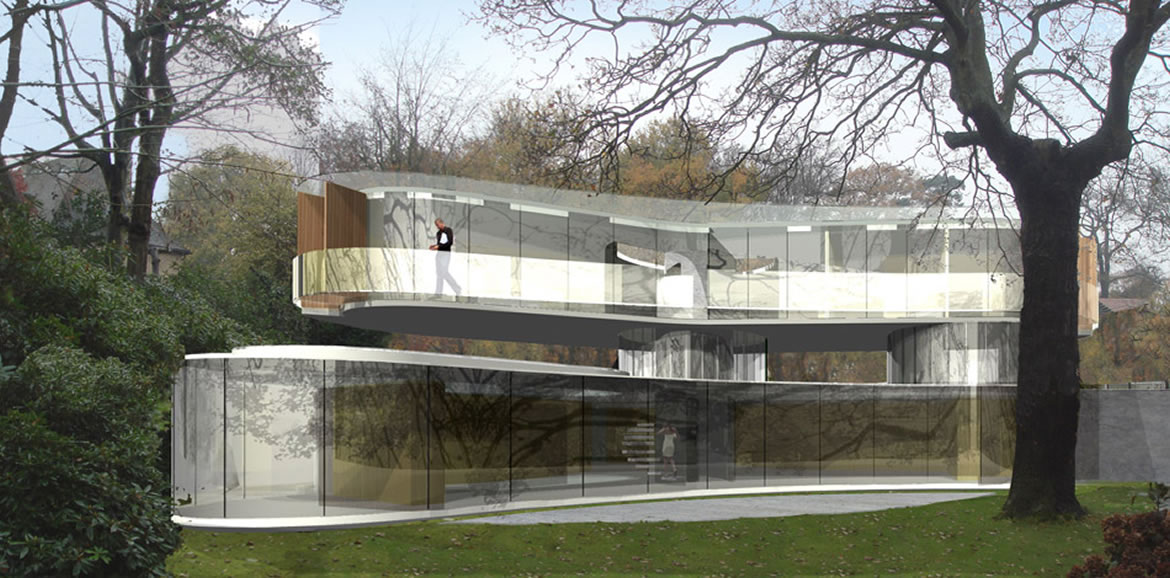 Eldridge London - Curved glass house view from garden